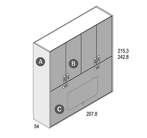 Cama abatible horizontal con altillo GAMES 2