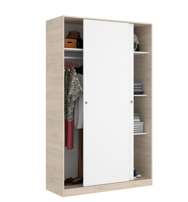 Armario puertas correderas SLIDE 120 blanco/natural 2