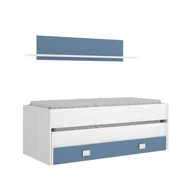 Cama compacto 1 cajón y estantería OCEAN 1