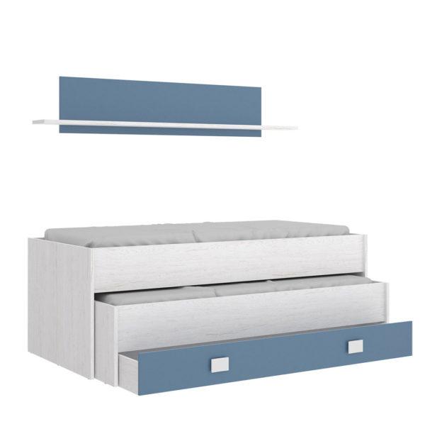 Cama compacto 1 cajón y estantería OCEAN color artic/aguamarina 2