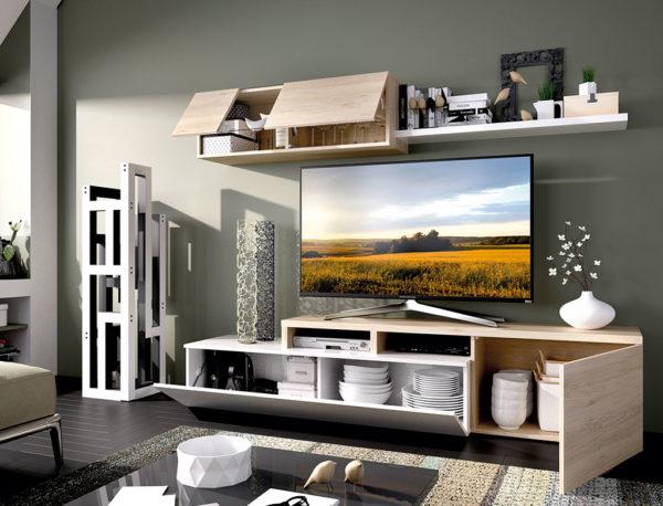 Mueble de salón ELLE blanco/natural 1