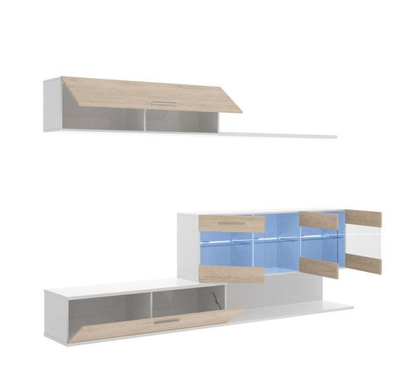 Mueble de salón con leds HAN blanco/natural 3