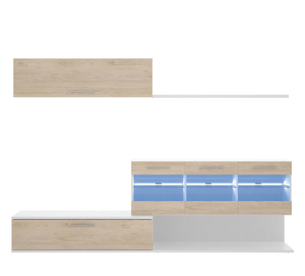 Mueble de salón con leds HAN blanco/natural 4