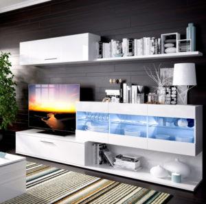 Mueble de salón con leds HAN blanco brillo 4