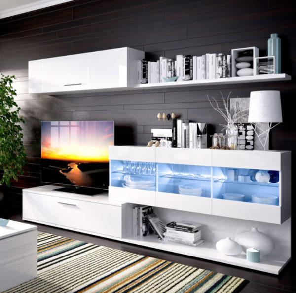 Mueble de salón con leds HAN blanco brillo 1