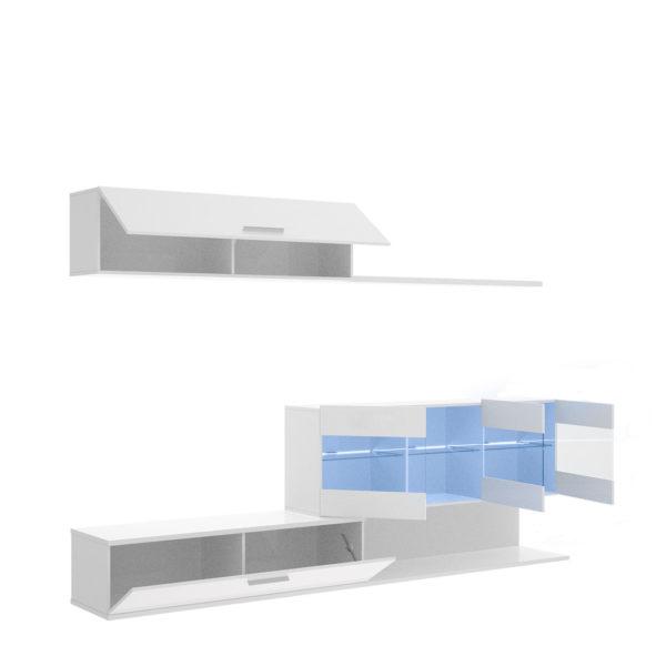 Mueble de salón con leds HAN blanco brillo 6