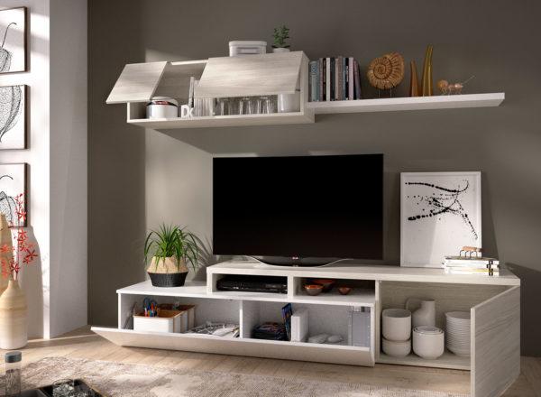 Mueble de salón ELLE blanco/gris 2