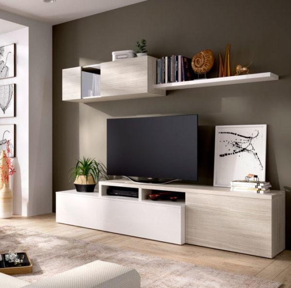 Mueble de salón ELLE blanco/gris 1
