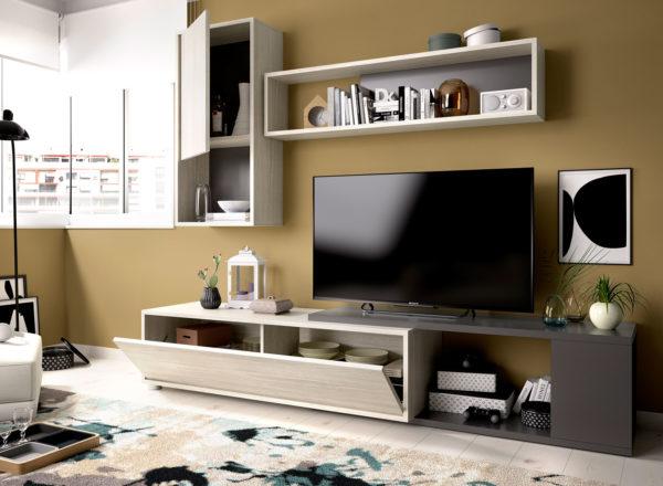 Mueble de salón convertible OBI gris/grafito 2
