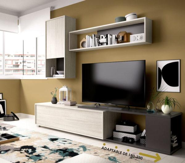 Mueble de salón convertible OBI gris/grafito 1
