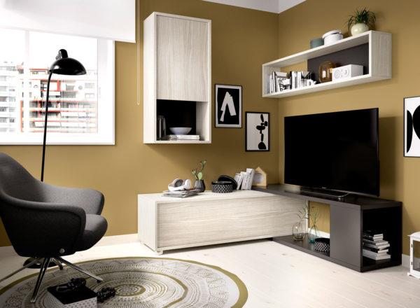 Mueble de salón convertible OBI gris/grafito 3