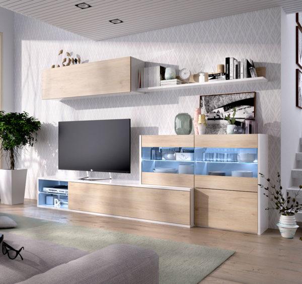 mueble con vitrina de salon