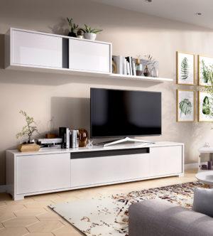 Mueble de salón TV NEIL blanco/grafito 7