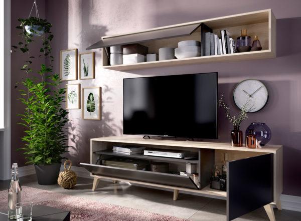 Mueble de salón compacto TV BONN natural/grafito 1