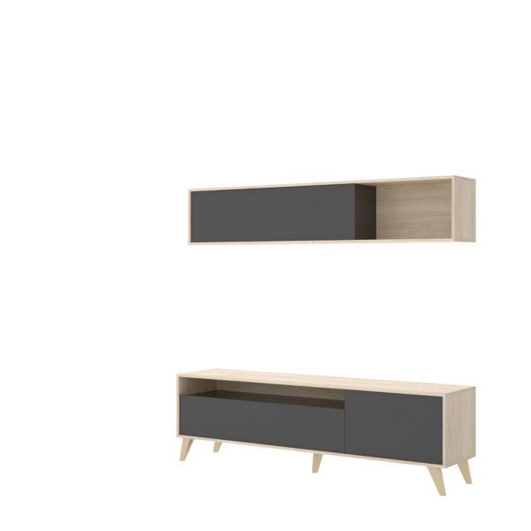 Mueble de salón compacto TV BONN natural/grafito 2