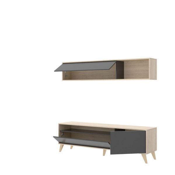 Mueble de salón compacto TV BONN natural/grafito 3