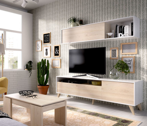 Mueble de salón compacto TV BONN blanco/natural 1