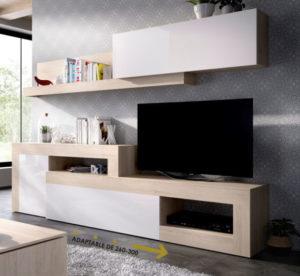 Mueble de salón TV LEBO natural/blanco