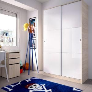 Armario puertas correderas SLIDE 120 blanco/natural 4