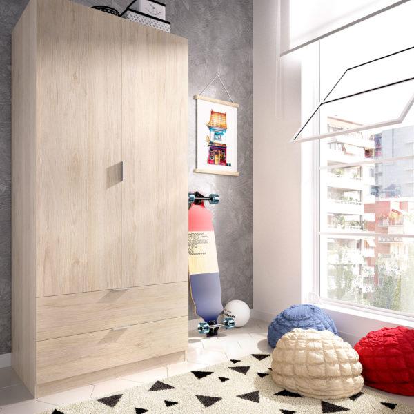 Armario de puertas batientes y cajones color natural ESSEN