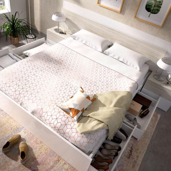 cama con 4 cajones en blanco alice