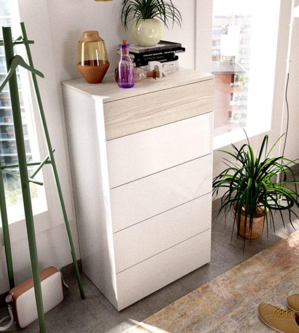 Cómoda alta de 5 cajones ALICE color blanco y gris