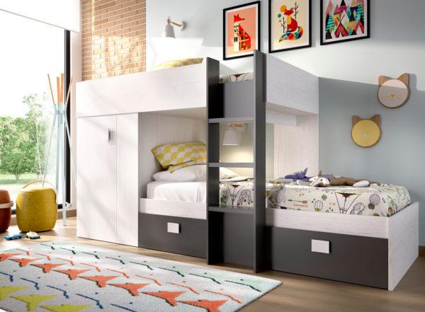 cama tren con armario GROE artic y grafito