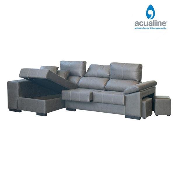 Sofá chaiselongue rusia 3 plazas brazo gris