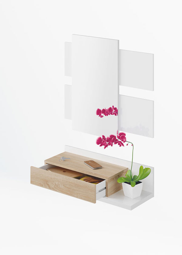 Recibidor 1 cajón + espejo MODERN 2