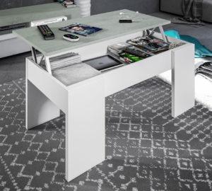 Mesa centro elevable FLOW cemento / blanco 6