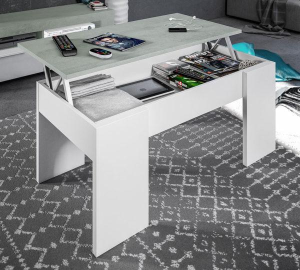 Mesa centro elevable FLOW cemento / blanco 1
