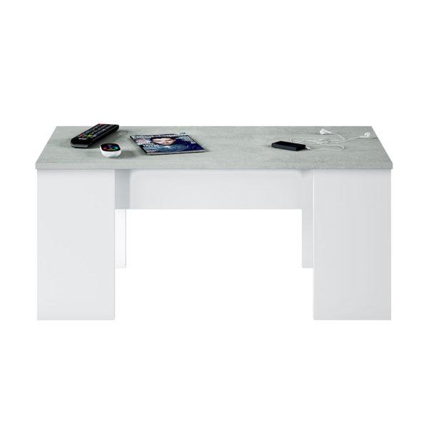 Mesa centro elevable FLOW cemento / blanco 4