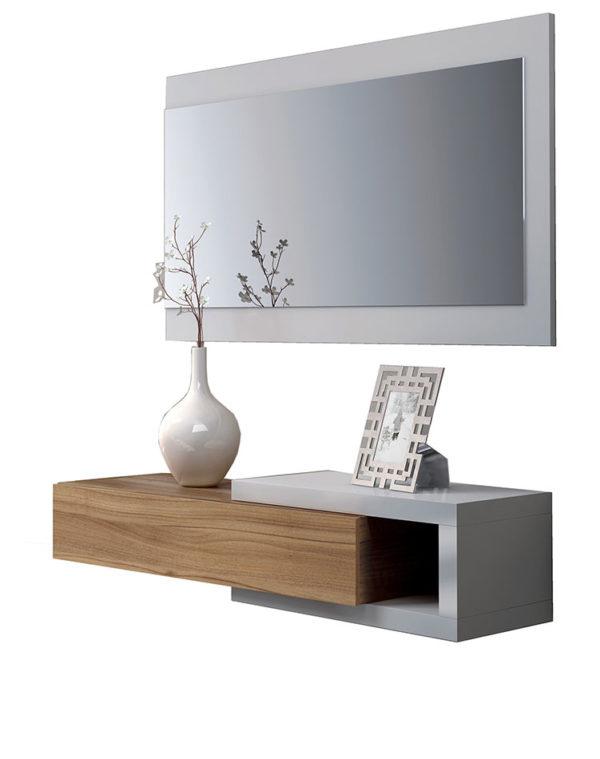 Recibidor 1 cajón + espejo WALNUT 2