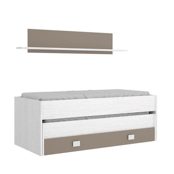 Cama compacto 1 cajón y estantería OCEAN 3